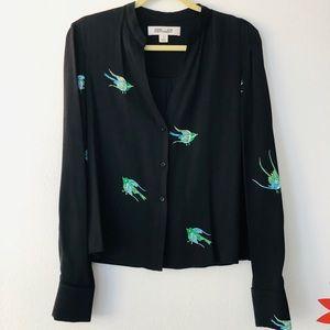 Diane Von furstenberg swallow silk shirt size 10